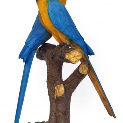 פסל זוג תוכים ארה צהוב כחול