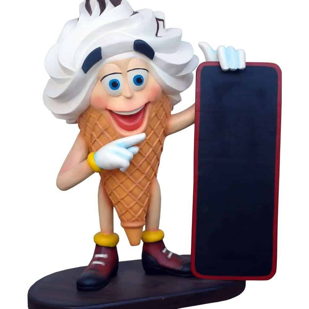 פסל של גלידה אמריקאית עם תפריט