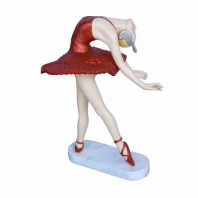 פסל בלרינה שמלה אדומה