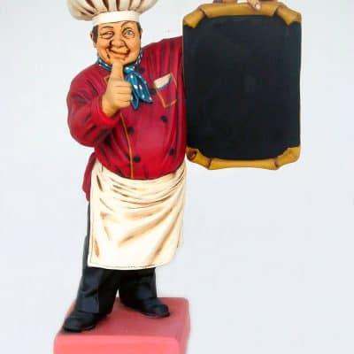פסל טבח קטן עם תפריט