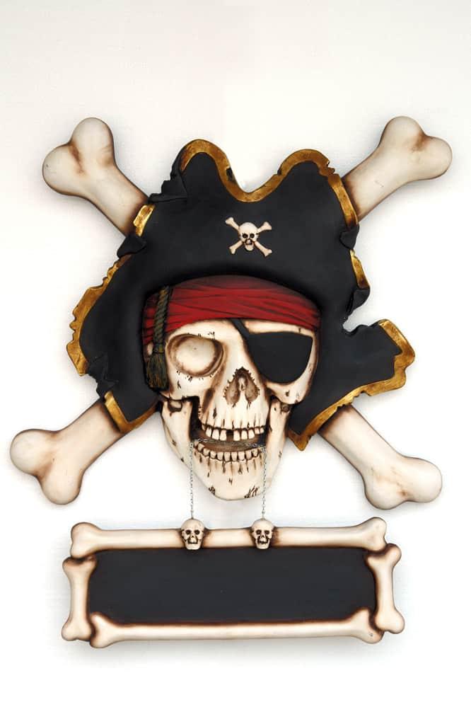 שלט גולגולת פיראט עצמות