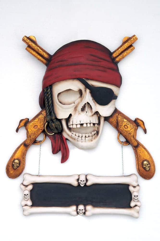 שלט גולגולת פיראט רובים