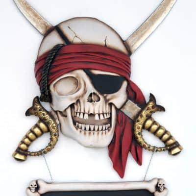 שלט גולגולת פיראט חרבות