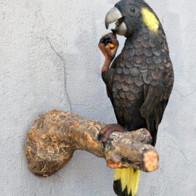 פסל תוכי קקדו על עץ