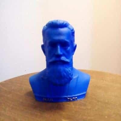 פסל ראש של הרצל כחול